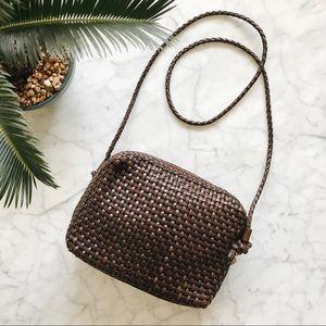 Vintage GEM Woven Brown Genuine Leather Purse